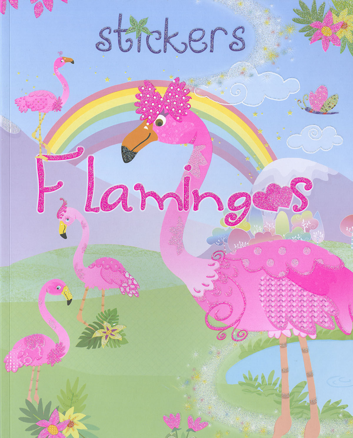 STICKERS FLAMINGOS ARCO IRIS