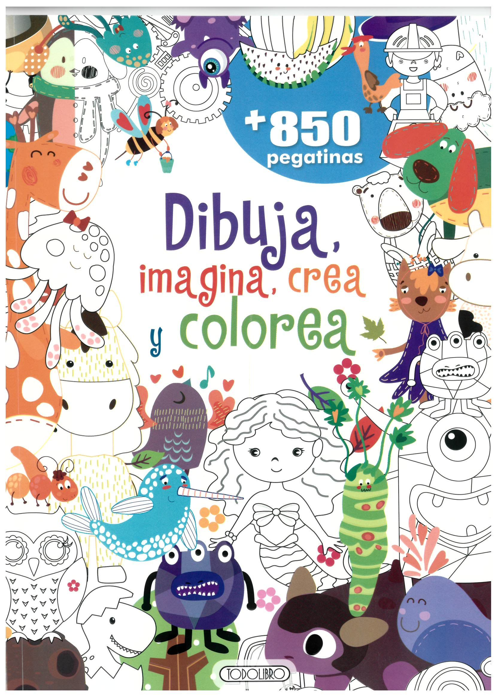 DIBUJA IMAGINA CREA Y COLOREA AZUL